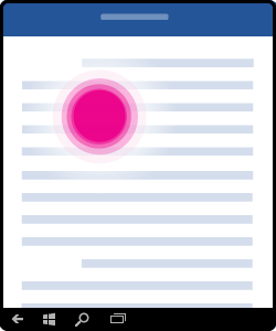 Grafikk som viser hvordan du trykker for å plassere markøren i dokumentet