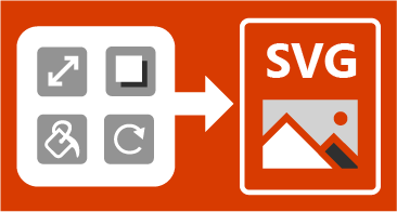 Fire knapper på venstre side og et SVG-bilde på høyre side, samt en pil mellom disse