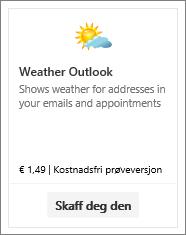 Skjermbilde av tilleggsprogrammet Weather Outlook, som er tilgjengelig som gratis prøveversjon eller mot betaling.