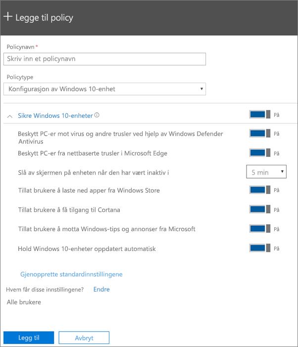 Legge til policyruten med Windows 10-enhetskonfigurasjonen merket