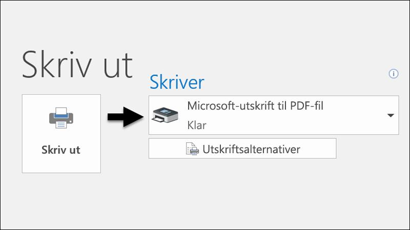 Bruk Skriv ut-kommandoen for å skrive ut en e-postmelding til en PDF-fil.