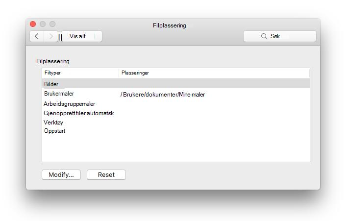 skjerm bilde av preferanse panelet for fil plasseringer fra Microsoft Word