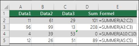 Excel viser en feilmelding når en formel ikke samsvarer med mønsteret til nærliggende formler