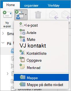 Viser valg av mappe fra listen over nye elementer.