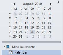 Datovelger i navigasjonsruten for kalender