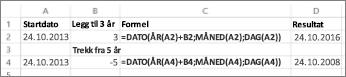 Eksempler på hvordan du kan legge til og trekke fra datoer