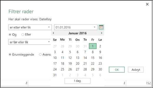 Excel Power BI Date Picker støtte for skriv inn dataverdier i dialogboksen for filtrer rader og betingede kolonner