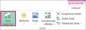 Fjerne Bakgrunn-knappen som finnes i Juster-gruppen under Bildeverktøy i kategorien Format