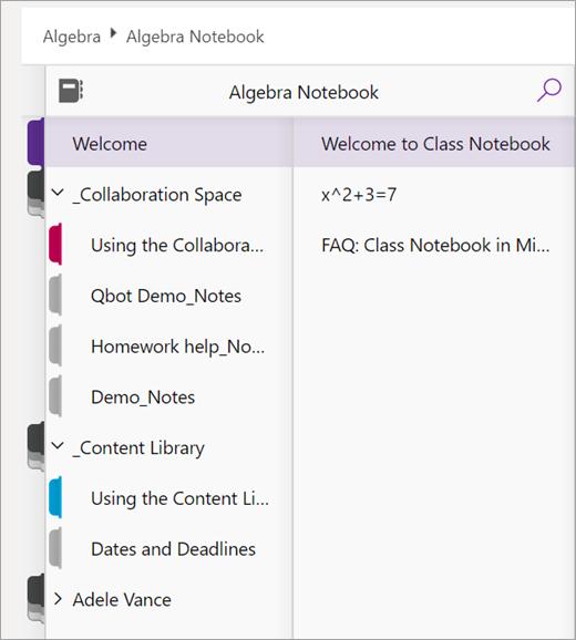En elevs Klassenotatblokk-inndelinger