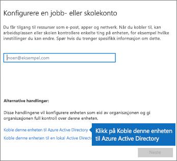 Klikk på Legg denne enheten til Azure Active Directory