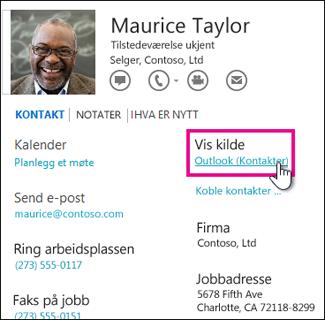 Vis kilde-koblingen i Outlook i et kontaktkort
