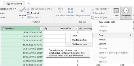 Power Query – hent ut Start/slutt av time fra en Dato/klokkeslett- eller en Klokkeslett-kolonne fra redigeringsprogrammet for spørring
