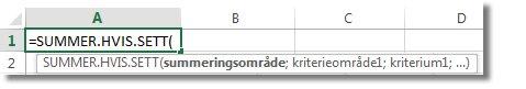 Bruke autofullføring av formel for å skrive inn SUMMER.HVIS.SETT-funksjonen