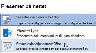 Presentere på nettet med Microsoft Lync
