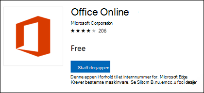 Siden Office Online-filtype i Microsoft Store