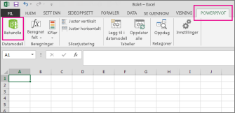 PowerPivot-fane og Behandle-knapp
