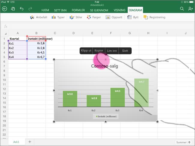 Kopiere et diagram fra Excel for iPad