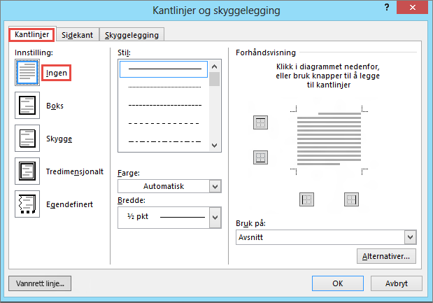 Dialogboksen Kantlinjer og skyggelegging for Outlook 2010