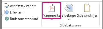 Vannmerke-kommandoen i Word 2013. Klikk Vannmerke på fanen Utforming.