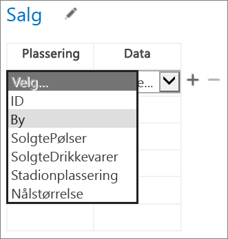 Velge hvilke data for appen for Office som skal vises i Access-appen