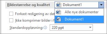 Konfigurer hvordan Office skal komprimere bildene dine for å finne en balanse mellom filstørrelse og kvalitet