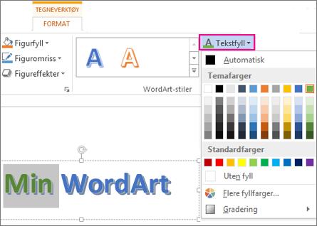 Galleriet for tekstfyllfarger finner du i kategorien Format under Tekstverktøy.