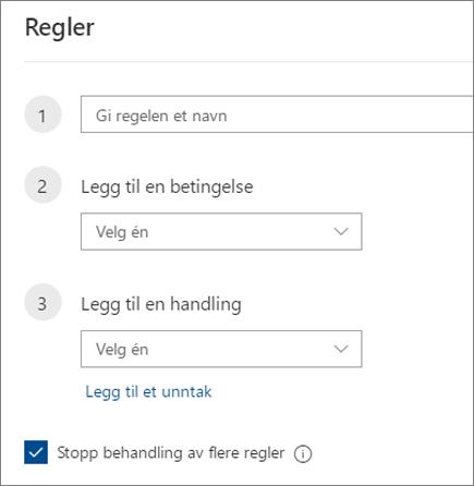 Opprette en ny regel i Outlook på nettet