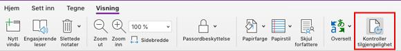 Verktøy for kontroll av tilgjengelighet i OneNote for Mac