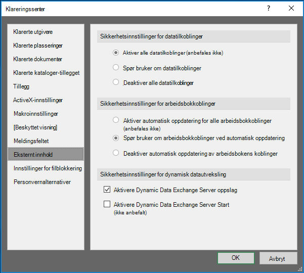 Innstillinger for eksternt innhold i klarerings senteret i Excel