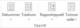 Oppsettalternativer under Oppsett i kategorien Utforming