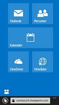 Bruk Office 365-navigasjonsflisene for å gå til nettsteder, biblioteker og e-post