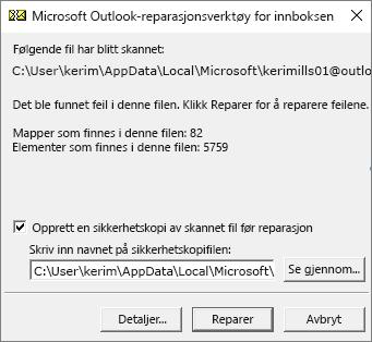 Viser resultatene av skanning av .pst-datafiler for Outlook ved bruk av Microsoft-repearasjonsverktøy for innboks, SCANPST.EXE