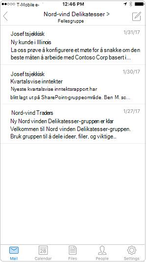 Samtalevisning i Outlook-mobilappen