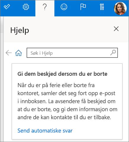 Hjelperute i Outlook på nettet