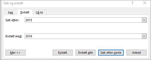 Søke etter og erstatte tekst