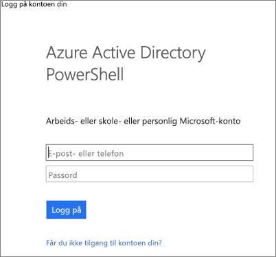 Skriv inn administratorlegitimasjonen din for Azure Active Directory