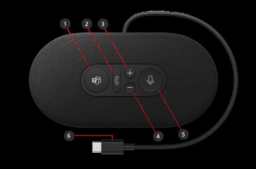 Knapper på Microsoft Modern USB-C-høyttaler