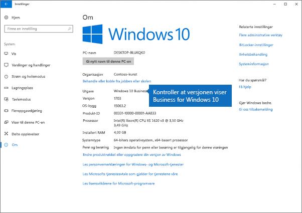 Bekreft at Windows-utgaven er Windows for Business 10.