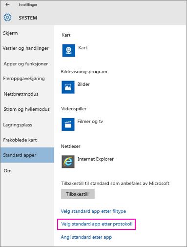 Skjermbilde av innstillingen Angi standard etter app i Windows 10.