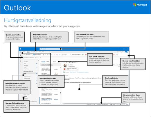Hurtigstartveiledning for Outlook 2016 (Windows)
