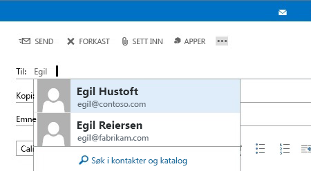Autofullfør liste i Outlook Web App