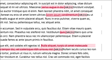 Eksempelbilde av revisjoner linjebundet i Word