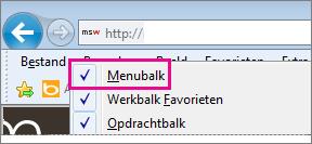 De menubalk weergeven in Internet Explorer