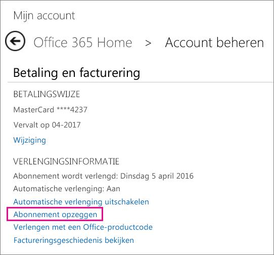 Uw Office-abonnement annuleren