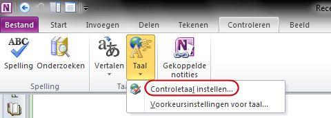Taal op tabblad Controleren van OneNote-lint
