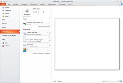 Het tabblad Bestand in PowerPoint 2010, met Afdrukken zichtbaar.