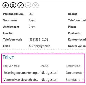 Een weergave in een Access-app waarin taken worden weergegeven in een besturingselement voor verwante items.