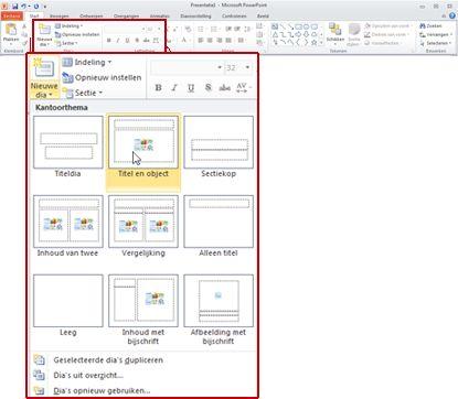 Het tabblad Start in PowerPoint 2010, met de groep Dia's zichtbaar.
