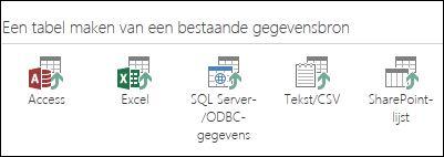 Opties voor gegevensbronnen: Access; Excel; SQL Server-/ODBC-gegevens; Tekst/CSV; SharePoint-lijst.
