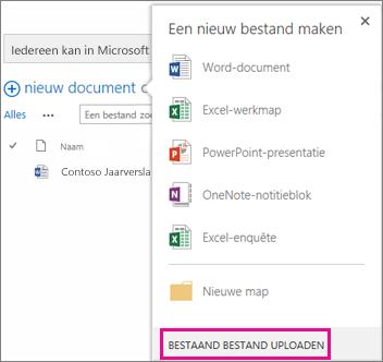 Schermafbeelding van het dialoogvenster Nieuw document waarin de knop Bestaand bestand uploaden is gemarkeerd